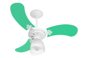 Ventilador Teto New Baby Colors 3 Pás Mdf Branco/Verde 220V