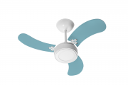 Ventilador Teto New Led Colors Branco 3 Pás Azul 220V 130 W