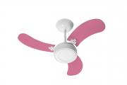 Ventilador Teto New Led Colors Branco 3 Pás Rosa 110V 130 W