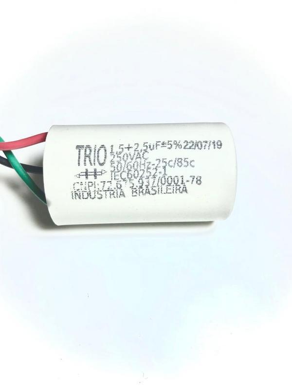 Capacitor 3 fios Metal. Ventilador de Teto 1,5+2,5 uFx250Vac