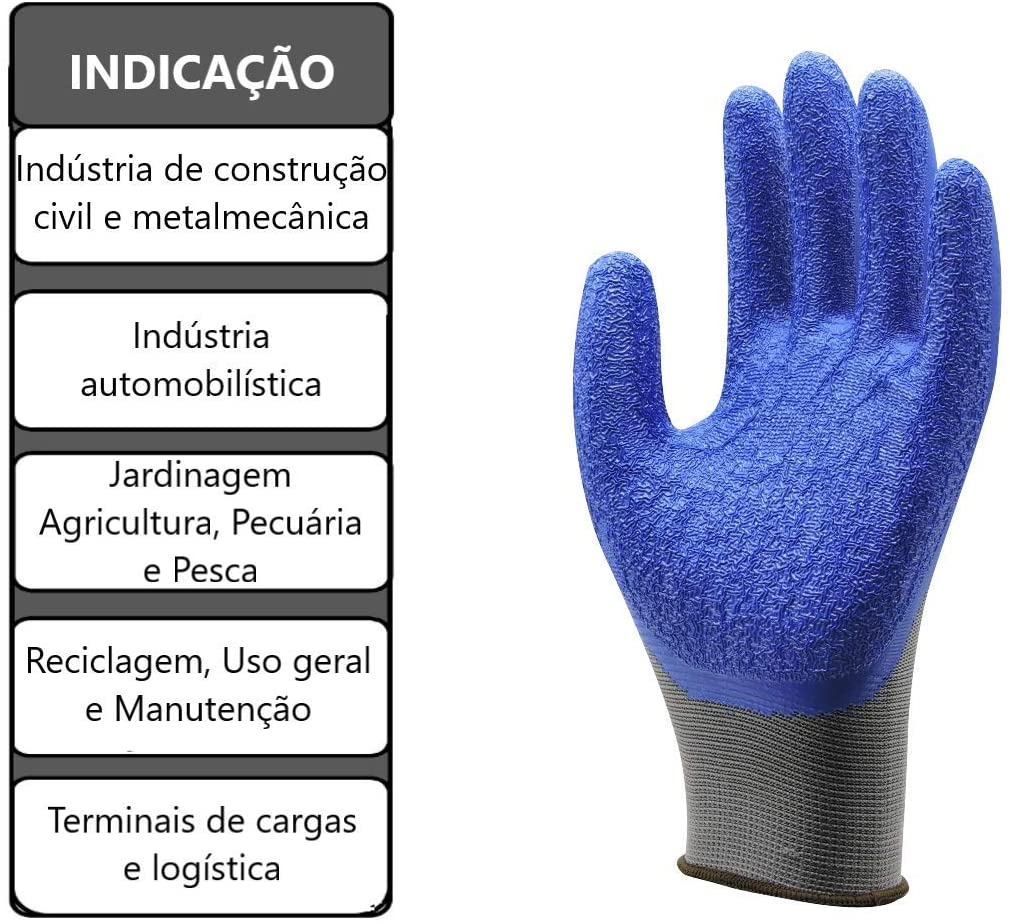 Kit 10 Pares Luva de segurança Super Safety ss1005 Cinza C/ Azul Tam. 10(GG)