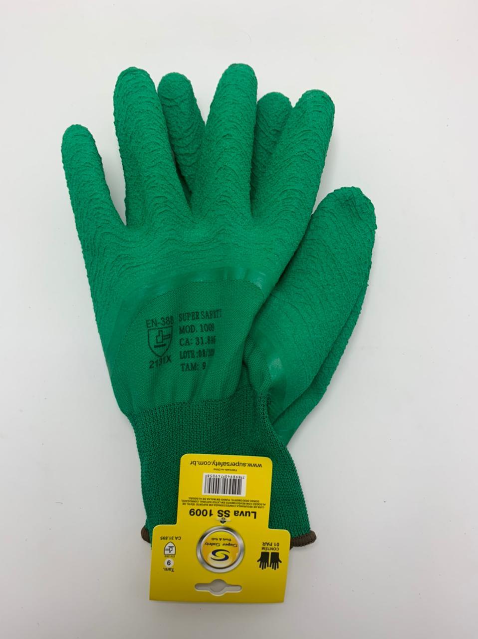 Kit 10 Pares Luva de segurança Super Safety ss1009 Verde Tam. 7(P).