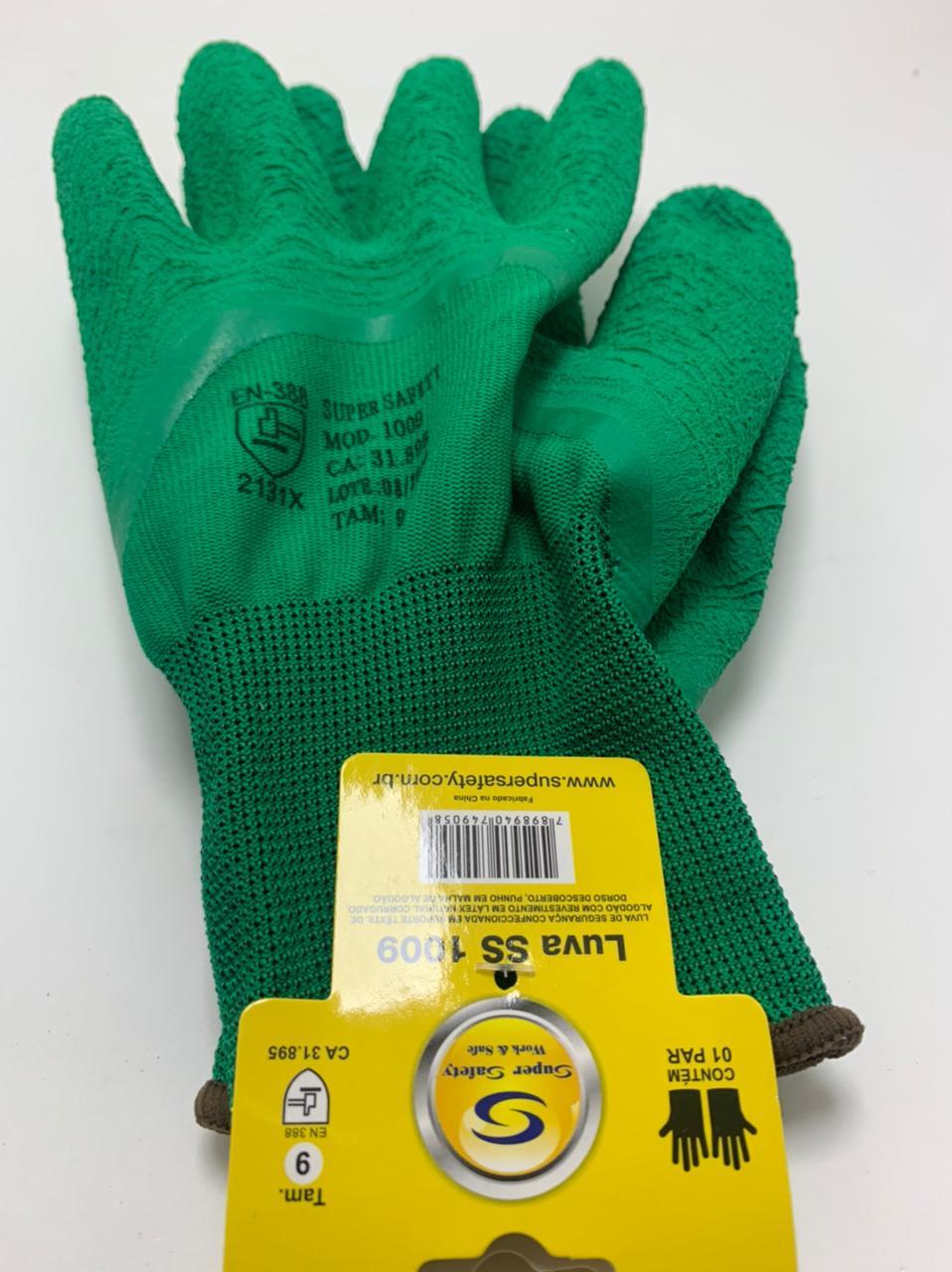 Kit 10 Pares Luva de segurança Super Safety ss1009 Verde Tam. 9(G).