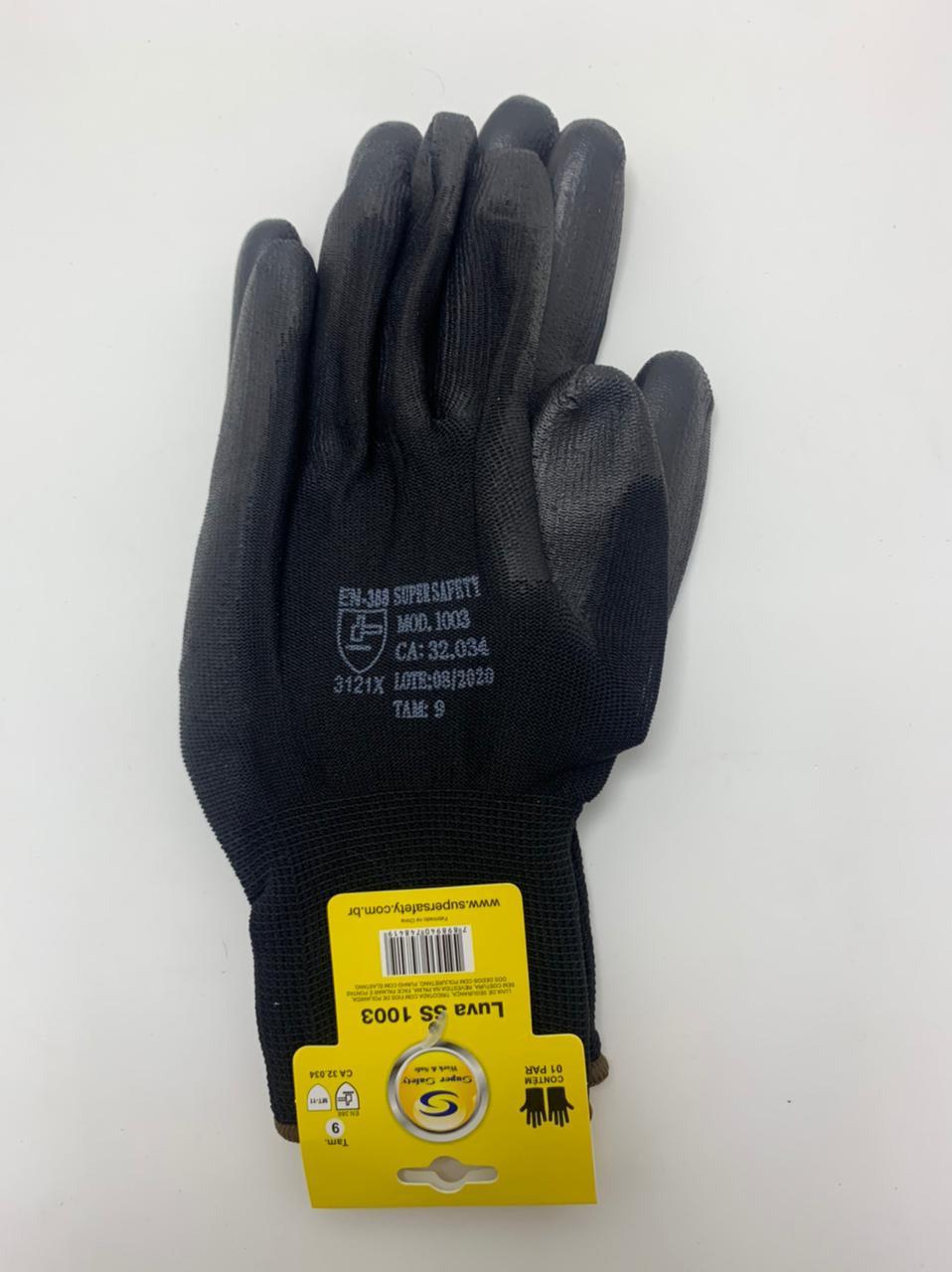 Kit 3 Pares Luva de segurança Super Safety ss1003 PU Preta Tam. 9(G).