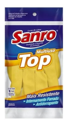 Luva de Borracha Latex Sanro Top Amarela Tam. 9(XG)