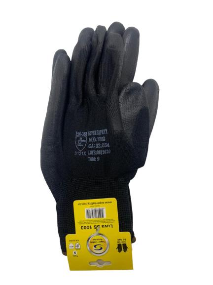 Luva de segurança Super Safety ss1003 PU Preta Tam. 8(M).