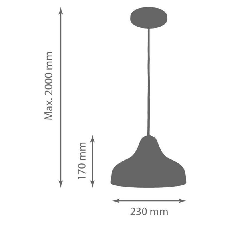 Pendente 1875 Chapéu de Alumínio Branco Fosco 23 cm Bivolt 50770