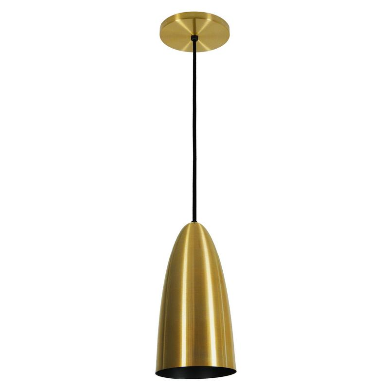 Pendente 1813 Copo Oval de Alumínio Dourado/Preto Fosco 13 cm Bivolt 52754