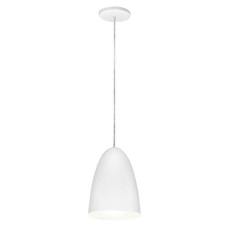 Pendente 1818 Oval de Alumínio Branco Fosco 18 cm Bivolt 50409