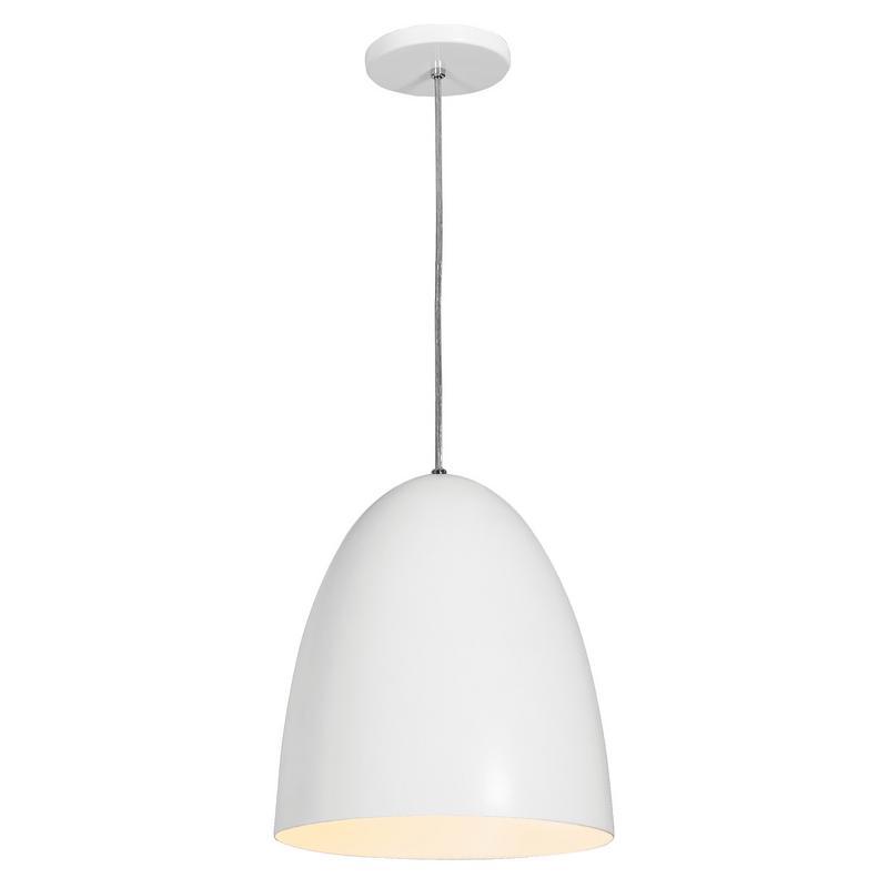 Pendente 1816 Oval de Alumínio Branco Fosco 27 cm Bivolt 50399