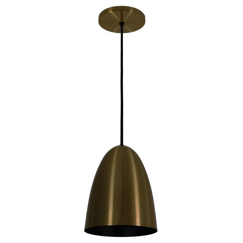 Pendente 1818 Oval de Alumínio Bronze/Preto Fosco 18 cm Bivolt 50758