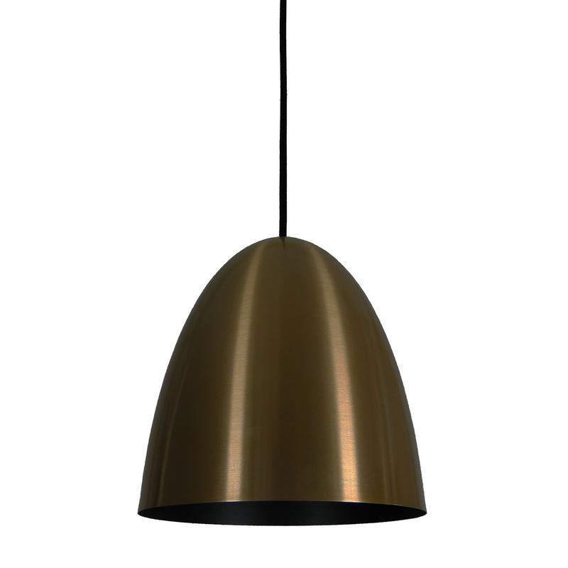 Pendente 1816 Oval de Alumínio Bronze/Preto Fosco 27 cm Bivolt 52755