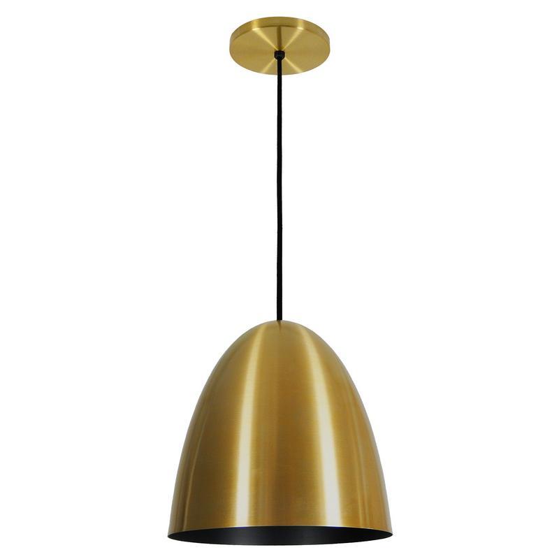 Pendente 1816 Oval de Alumínio Dourado/Preto Fosco 18 cm Bivolt 52757