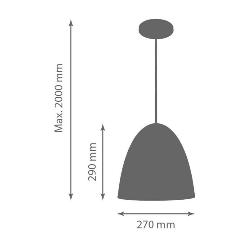 Pendente 1816 Oval de Alumínio Preto Fosco 27 cm Bivolt 50499