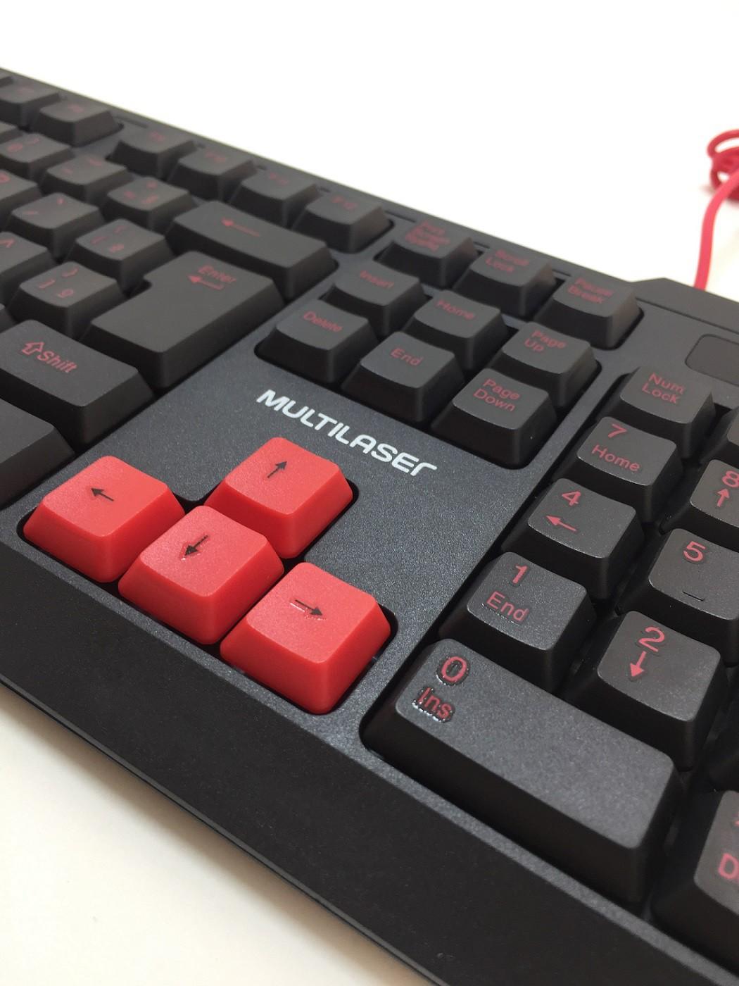 Teclado Gamer Com Hotkeys Multimidia Preto/Vermelho Multilaser - TC160