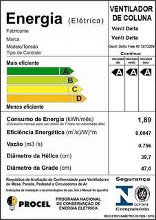 Ventilador De Coluna Delta Free 40 cm Bivolt Aço Preto 140 W