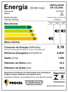 Ventilador De Coluna Premium 50 cm Bivolt Aç Branco170 W