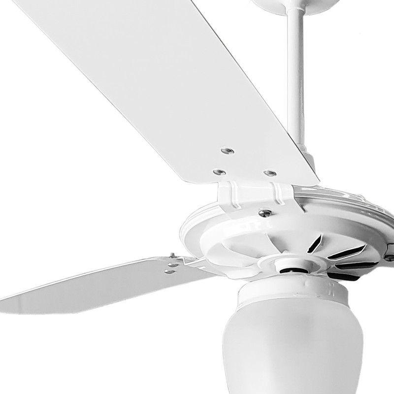 Ventilador de Teto Branco Com Globo Fechado Pás de MDF 110 V