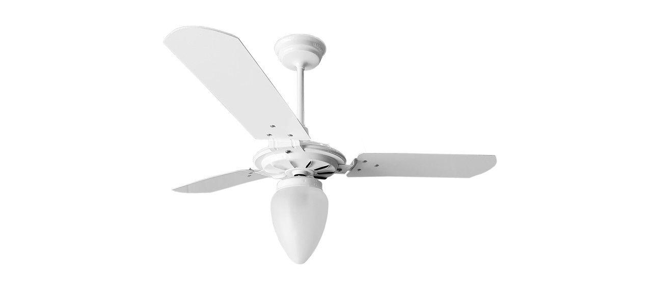 Ventilador de Teto Branco Com Globo Fechado Pás de MDF 220 V