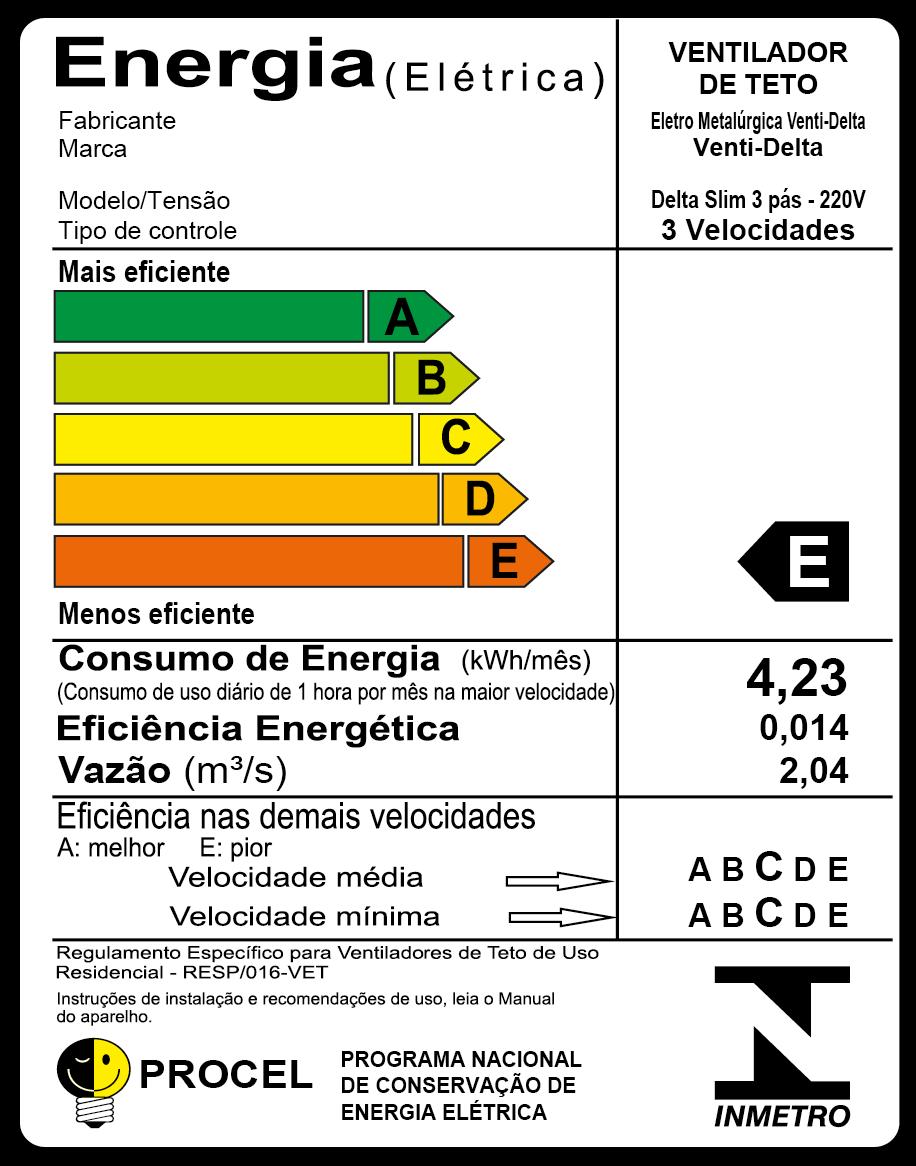 Ventilador de Teto Delta Slim 3 Pás Branco/Tr 220V