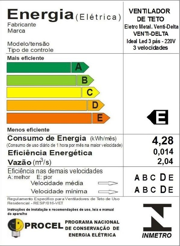 Ventilador de Teto Ideal Led Preto Pás de MDF 220V