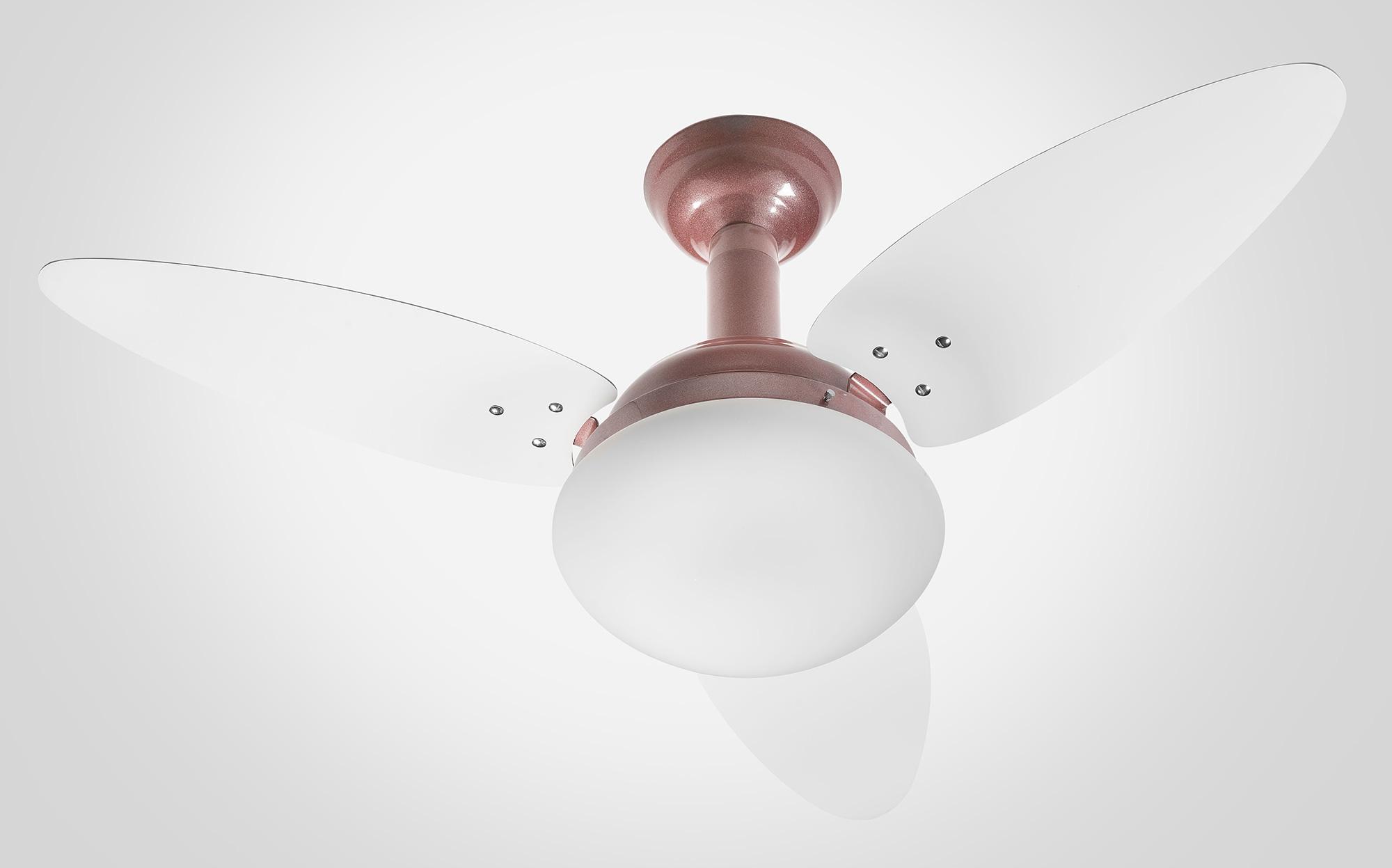 Ventilador de Teto Jet Venti-delta Rosê 3Pás Brancas 110V+Controle Rem.