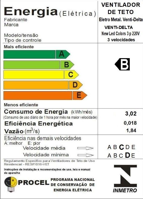 Ventilador de Teto Led Colors Br/Azul 220V+Controle Remoto