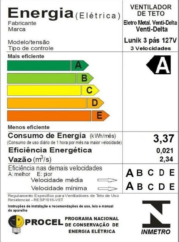 Ventilador de Teto Lunik LED 3 Pás Controle Fixo 110V