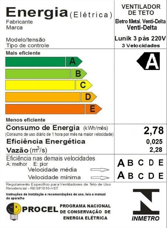 Ventilador de Teto Lunik Venti-Delta 3 Pás Controle Fixo 220V