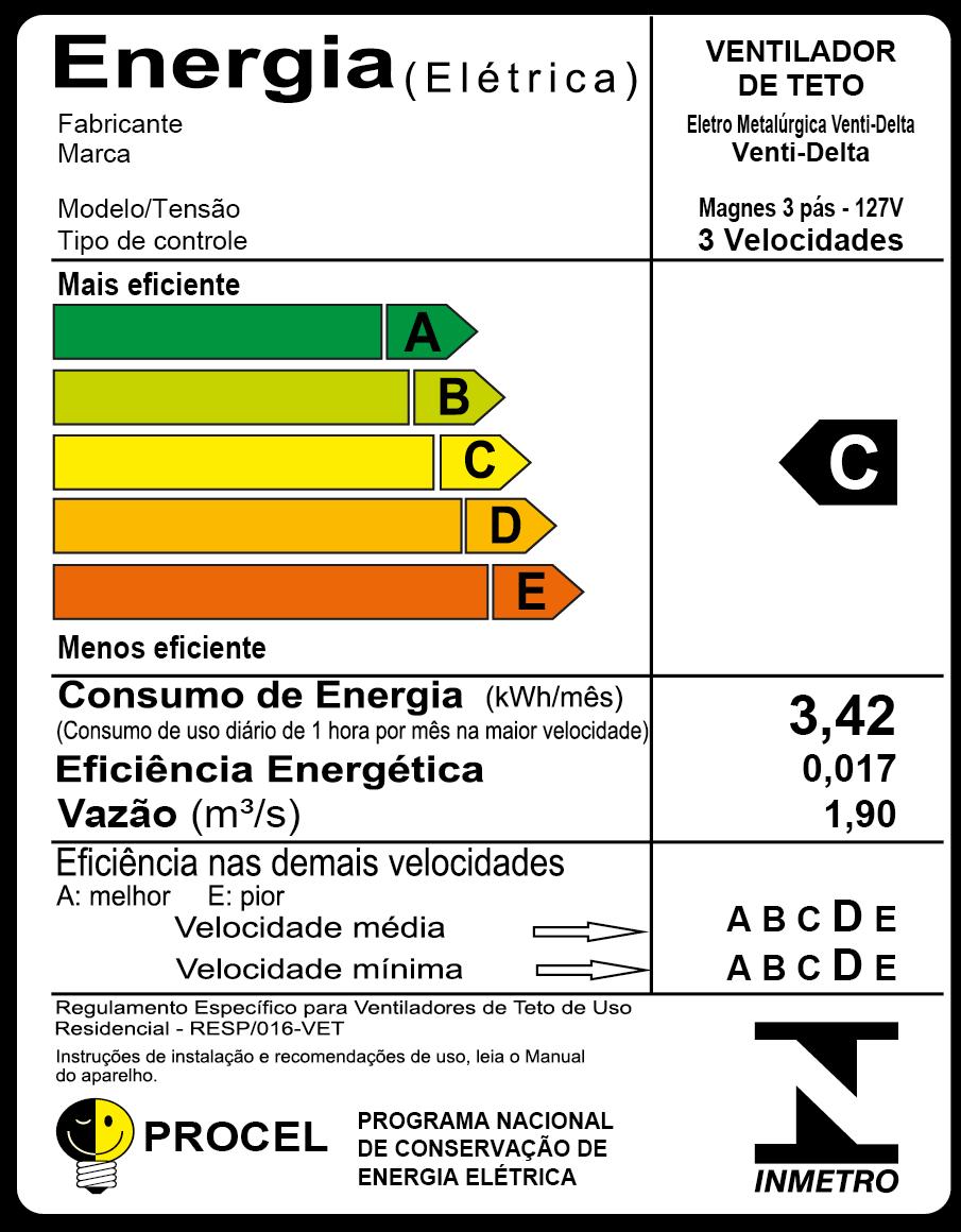 Ventilador De Teto Magnes 3 Pás De Mdf Preto 110V
