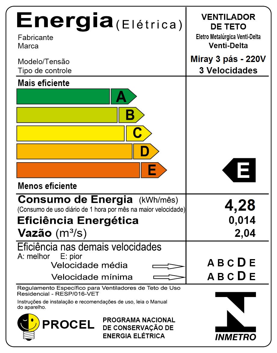 Ventilador De Teto Miray 3 Pás Br/Tb 220V + Controle Remoto