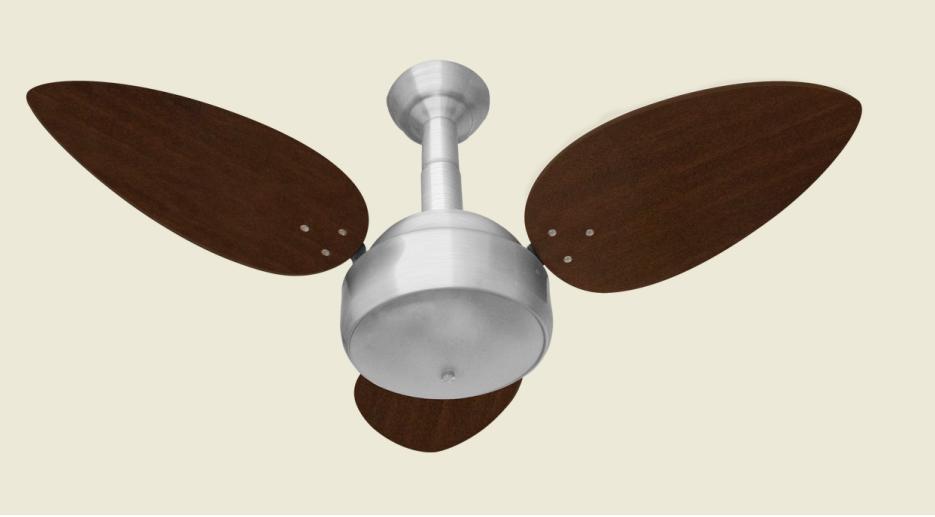 Ventilador de Teto Miray Prata 3 Pás de MDF Tabaco