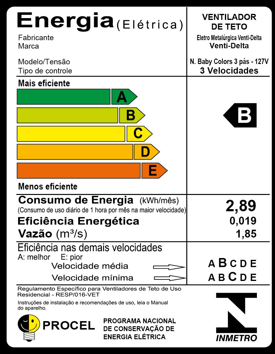 Ventilador De Teto New Baby Colors 3 Pás Mdf Branco 110V