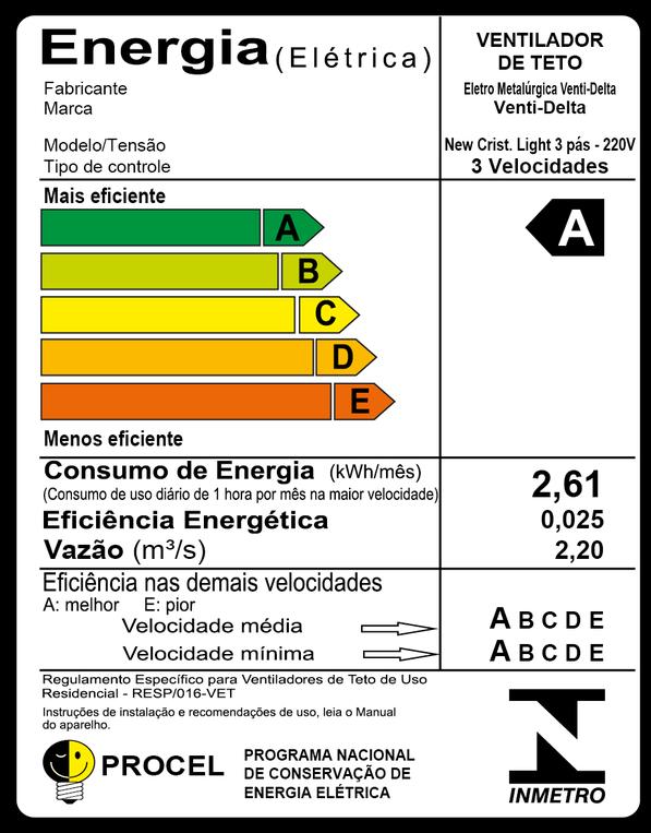 Ventilador de Teto New Cristal Light Pr/Tr 220V+Controle R.