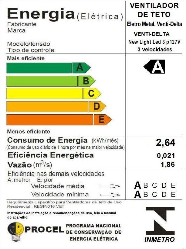 Ventilador de Teto New Light Led  Branco 3 Pás de MDF 110V