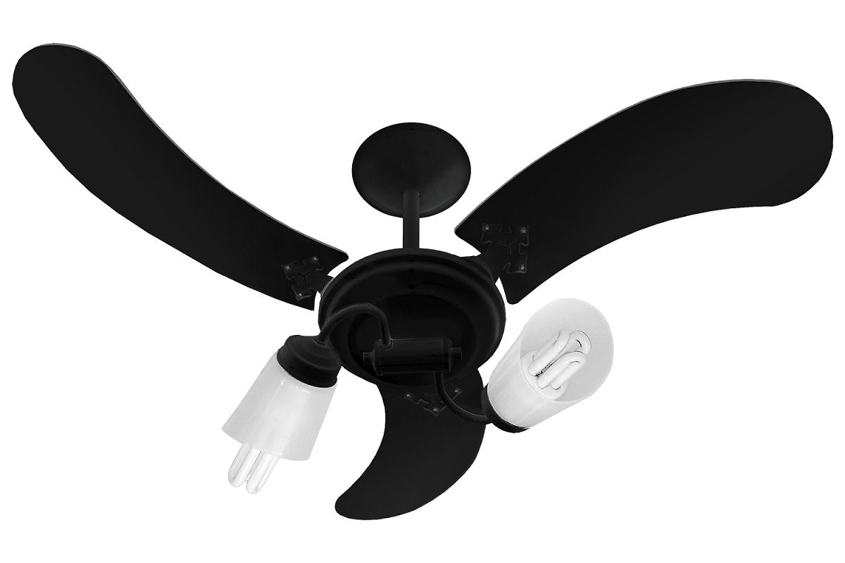 Ventilador De Teto New Spot Delta Preto 110V+Controle Rem.