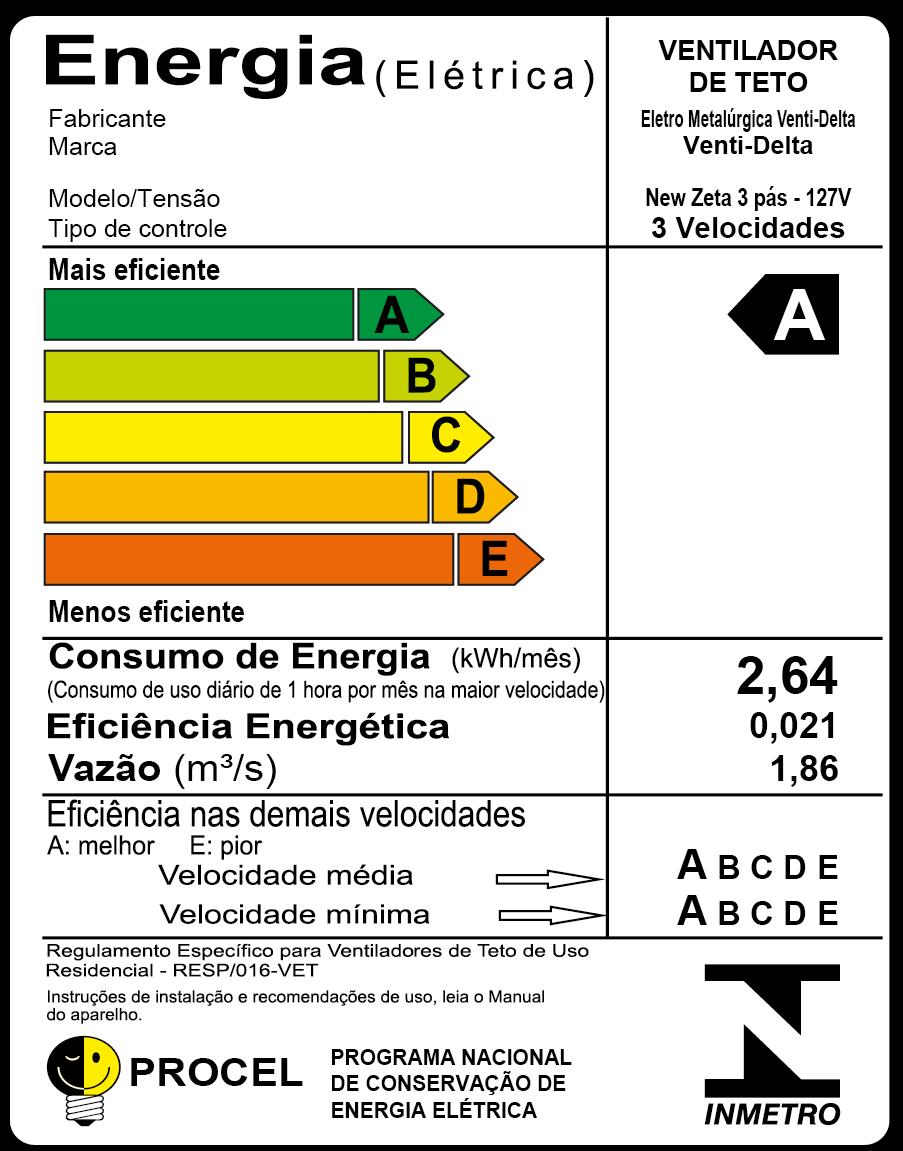 Ventilador De Teto New Zeta Branco Com 4 Pás Br de MDF 127v