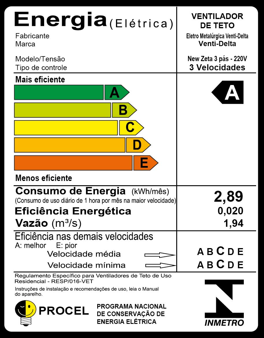 Ventilador De Teto New Zeta Branco Com 4 Pás de MDF 220v
