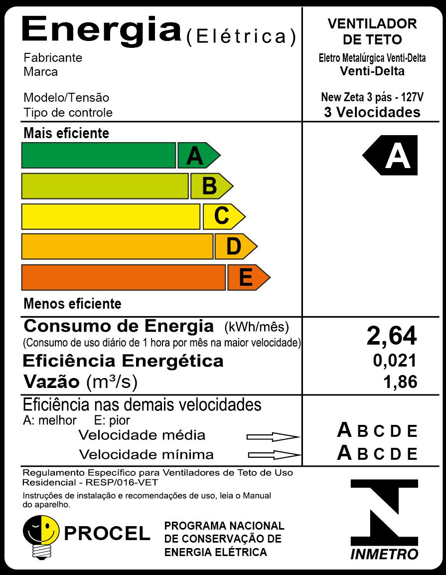 Ventilador De Teto New Zeta Preto 3Pás De Mdf Mogno 110V