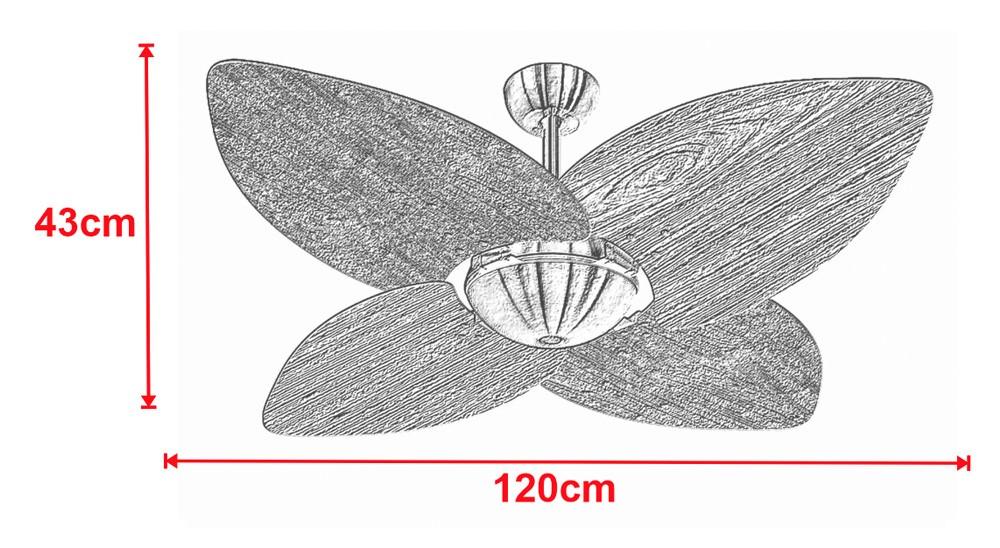 Ventilador de Teto Office Dunamis Bronze 4Pás Rádica Imbuia 220V