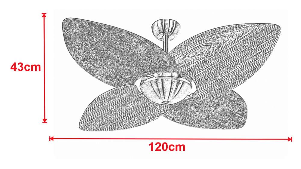 Ventilador de Teto Office Dunamis Dourado 4Pás Rattan Natural 110V+Controle