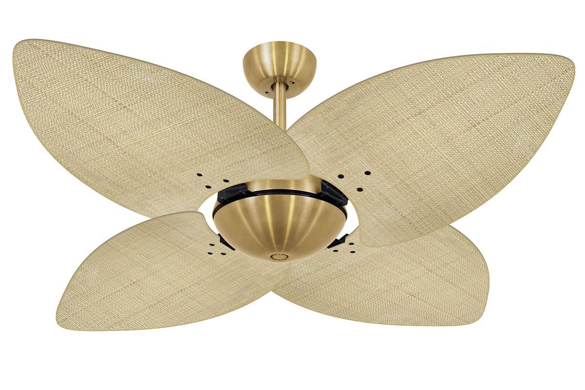 Ventilador de Teto Office Dunamis Dourado 4Pás Rattan Natural 220V