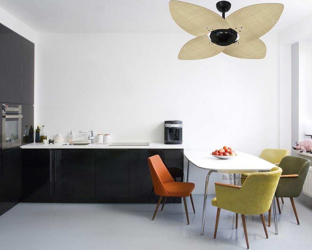 Ventilador de Teto Office Dunamis Preto 4Pás Rattan Natural 110V+Controle