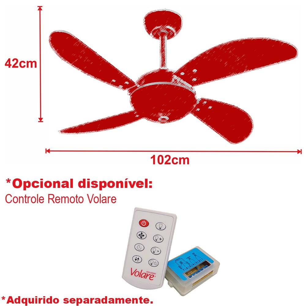 Ventilador de Teto Office Fly Marrom 4 Pás MDF Tabaco 110V