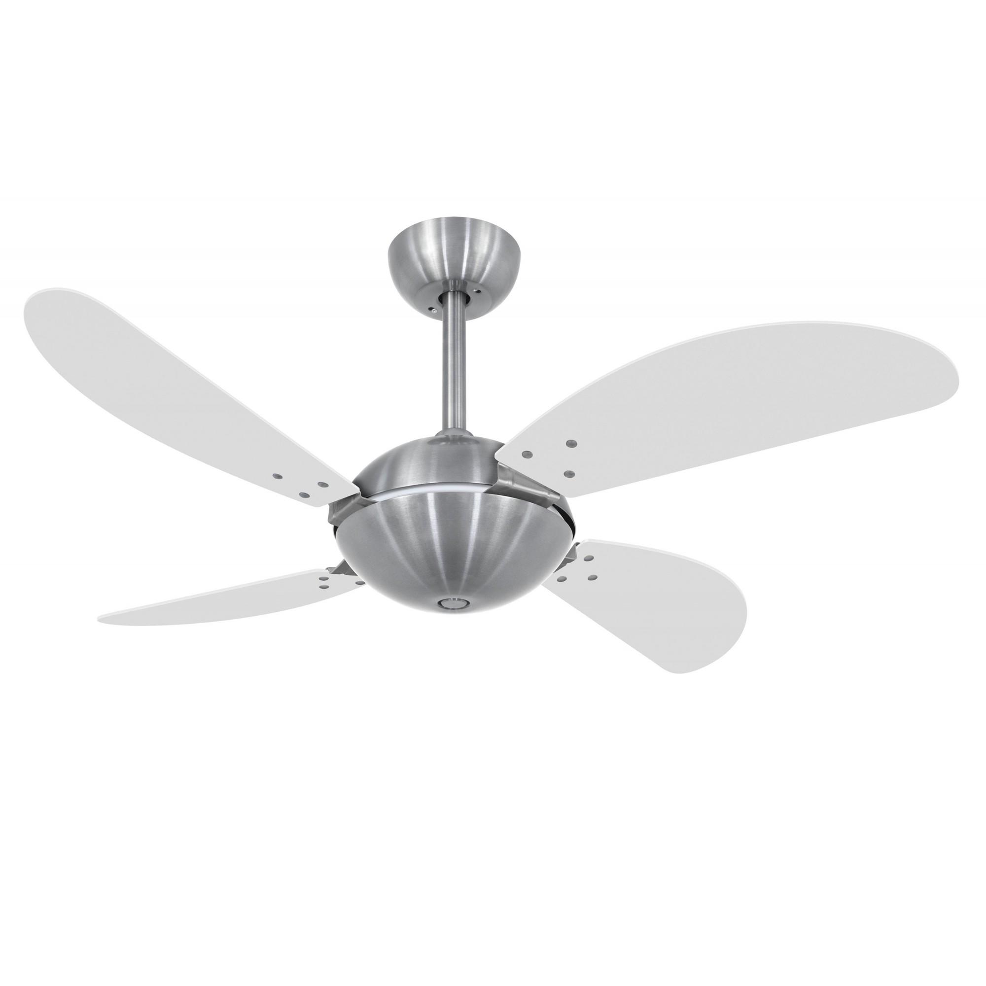 Ventilador de Teto Office Fly Prata 4 Pás MDF Branco 110V