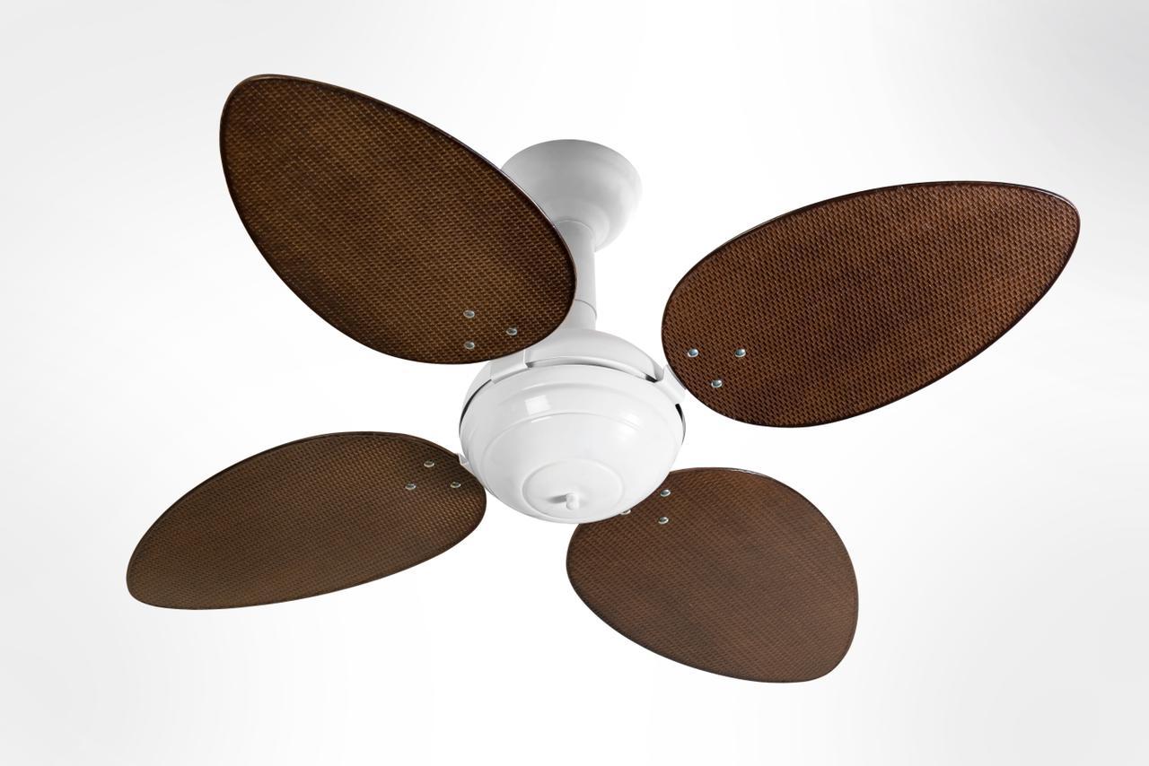 Ventilador de Teto Office Jet Venti-Delta Branco 4Pás Rattan Tabaco 220V+Controle