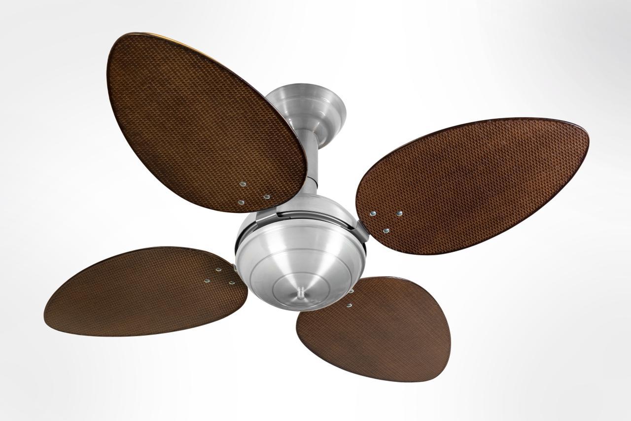 Ventilador de Teto Office Jet Venti-Delta Prata 4Pás Rattan Tabaco 220V