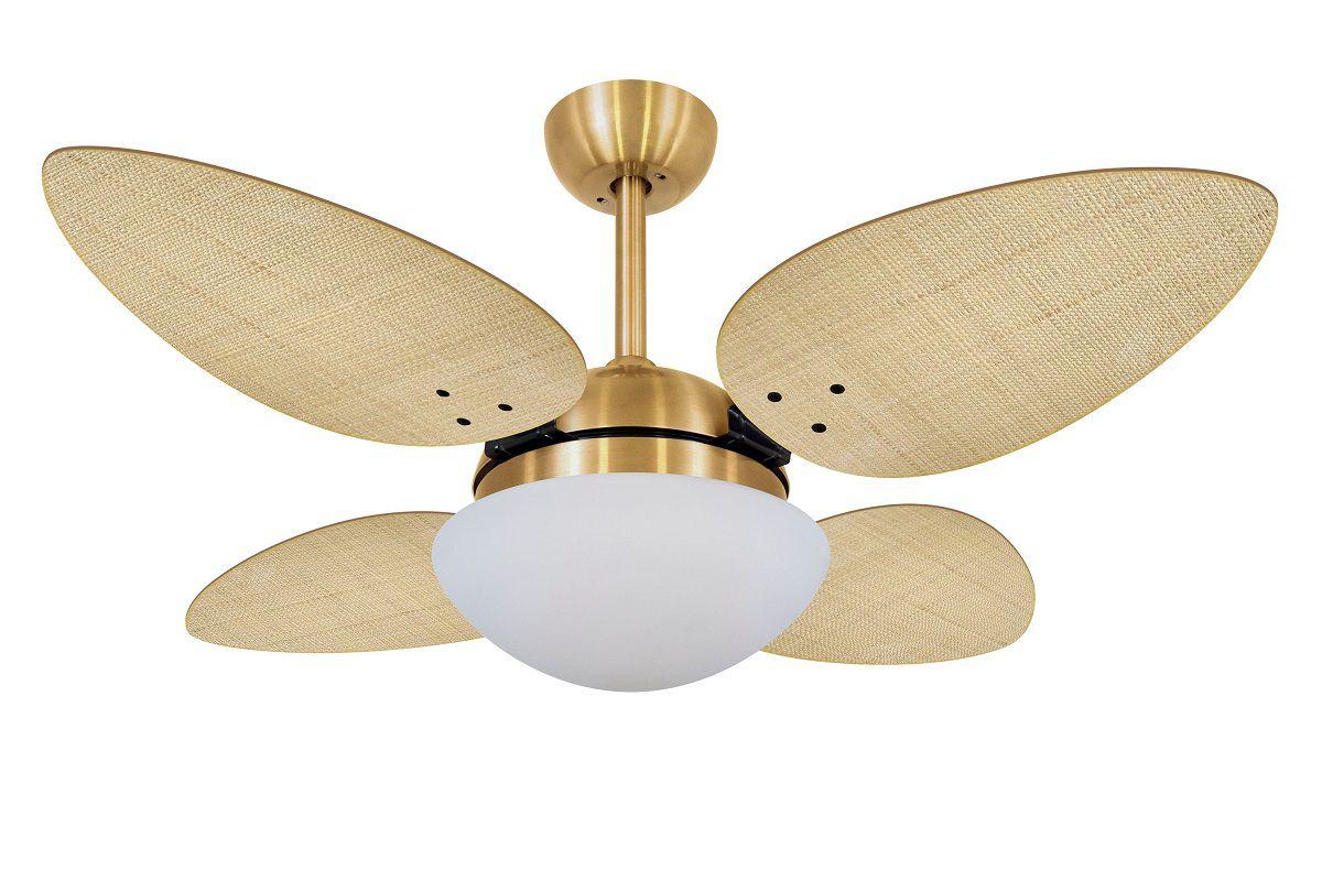 Ventilador de Teto Petalo Palmae Dourado 4 Pás Natural 220V