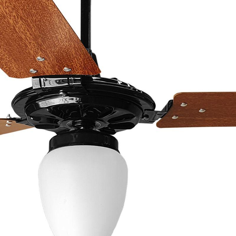 Ventilador de Teto Pto/Mg Com Globo Fechado Pás de MDF 110 V