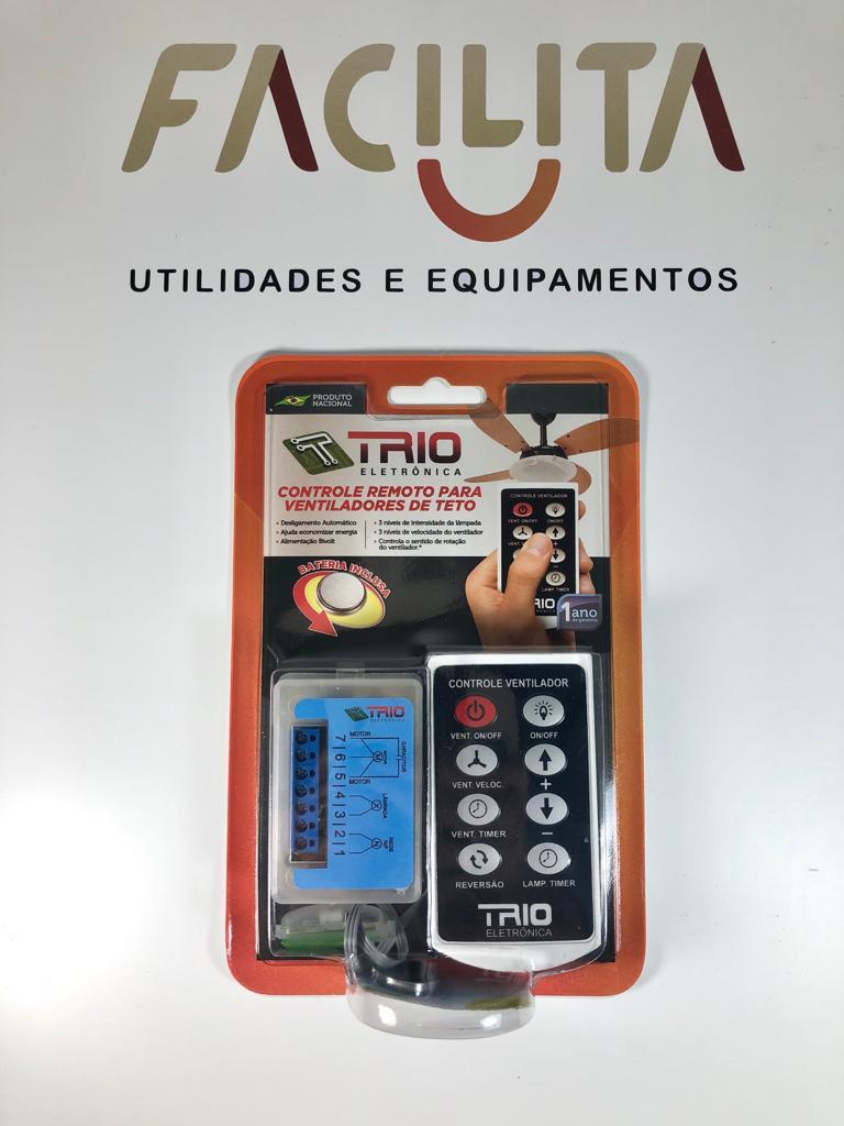 Ventilador de Teto Pto/Mg Globo Aberto 3 Pás 110V +Controle